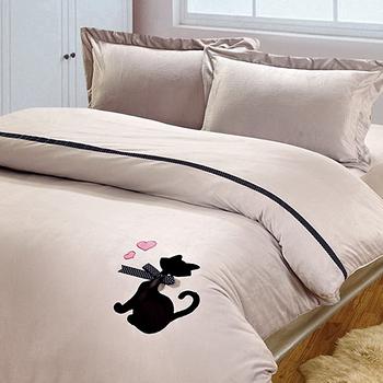 RODERLY【月貓】雙人特大四件式珊瑚絨被套床包組