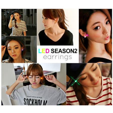 【PS Mall】韓劇尾牙跑趴韓國熱賣LED單顆水鑽耳環(單件)耳環(G1274)