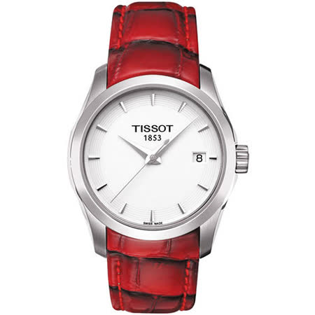 TISSOT T-Trend Couturier Lady 時尚簡約腕錶-白/紅 T0352101601101