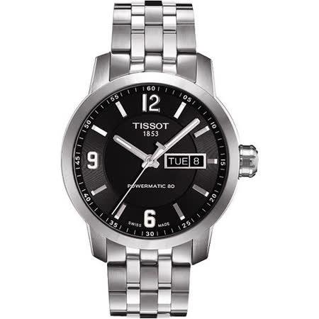 TISSOT PRC200 Powermatic 80 時尚機械腕錶-黑 T0554301105700