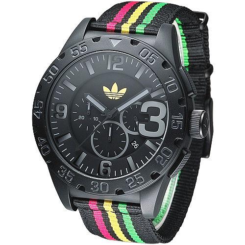 adidas 動感休閒風3眼計時腕錶~黑帆布ADH2795
