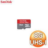 SanDisk 8GB Ultra MicroSDHC CLASS10 記憶卡-附轉卡