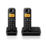 ◆PHILIPS◆飛利浦數位雙子機無線電話(黑色) D1502/D1502B