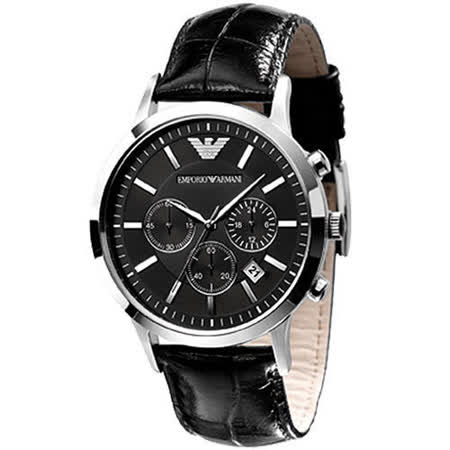 ARMANI 優質型男三眼皮帶腕錶-黑 AR2447