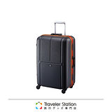 《Traveler Station》CROWN MASTER 輕量23吋霧面色框箱-黑底橘框