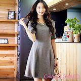 預購【CHACO韓國】氣質OL素雅圓領大擺短袖連身洋裝CLEA-O-34(灰色M/L)