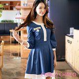 預購【CHACO韓國】甜心配色圓領水洗牛仔七分袖連身洋裝CLEA-O-4(藍色M/L)