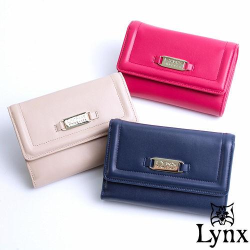 Lynx ~ 山貓仕女系列優雅款真皮三折式中皮夾~共3色