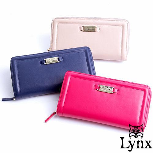 Lynx ~ 山貓仕女系列優雅款真皮兩折零錢式長皮夾~共3色