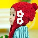 【PS Mall】花朵造型公主兒童針織帽(手工帽)   (B054)