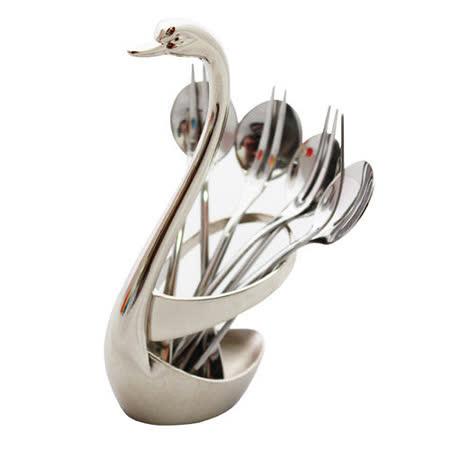 PUSH!餐具天鵝不銹鋼4叉4勺湯匙叉子組
