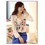 【韓系女衫】春夏法式華麗風格修身圓領五分袖雪紡衫