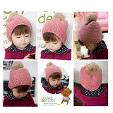 【PS Mall】保暖兒童兔毛毛球帽/寶寶套頭毛線帽 (B096)