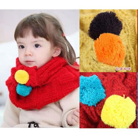 【PS Mall】冬季女童毛球毛線圍巾寶寶兒童款彩色雙毛球針織圍脖 (B113)
