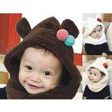 【PS Mall】韓版男女寶寶嬰兒童 糖果色可愛嬰兒圍脖帽(B117)
