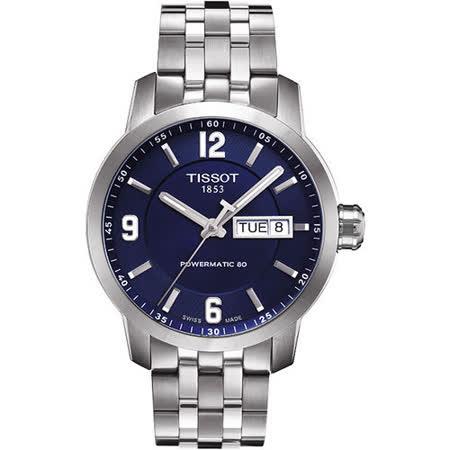 TISSOT PRC200 Powermatic 80 時尚機械腕錶-藍 T0554301104700