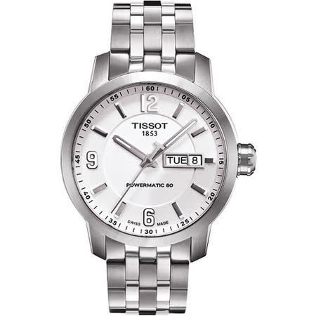 TISSOT PRC200 Powermatic 80 時尚機械腕錶-銀 T0554301101700