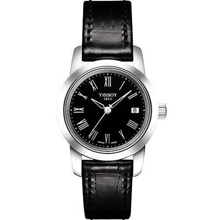 TISSOT CLASSIC DREAM 經典皮帶女錶-黑 T0332101605300