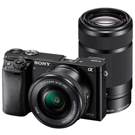 SONY A6000Y 16-50mm+55-210mm 雙鏡組(公司貨)-送32G卡+專用鋰電池x2+專用座充+遙控器+相機包+HDMI+吹球拭鏡筆清潔組+硬式保貼+UV保護鏡x2