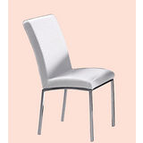 Augustin格紋皮餐椅496-9(白)