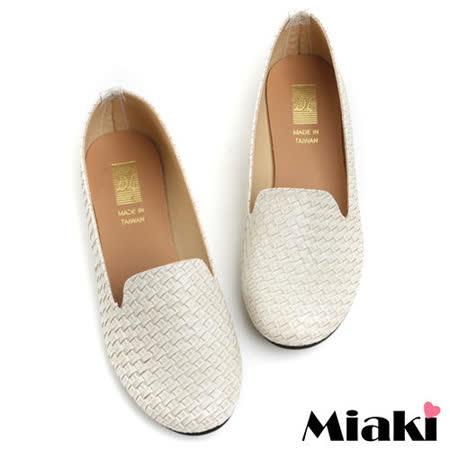 (現貨+預購)【Miaki】MIT 經典不敗編織造型平底包鞋懶人鞋 (杏色)