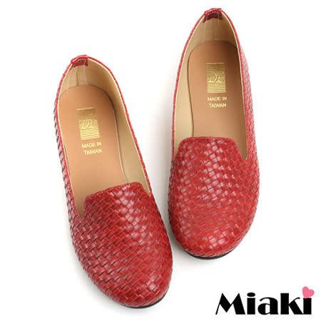 (現貨+預購)【Miaki】MIT 經典不敗編織造型平底包鞋懶人鞋 (紅色)