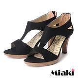 (現貨+預購)【Miaki】MIT 簡約時尚T字造型魚口高跟涼鞋 (黑色)