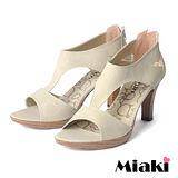(現貨+預購)【Miaki】MIT 簡約時尚T字造型魚口高跟涼鞋 (米色)