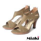 (現貨+預購)【Miaki】MIT 簡約時尚T字造型魚口高跟涼鞋 (卡其)