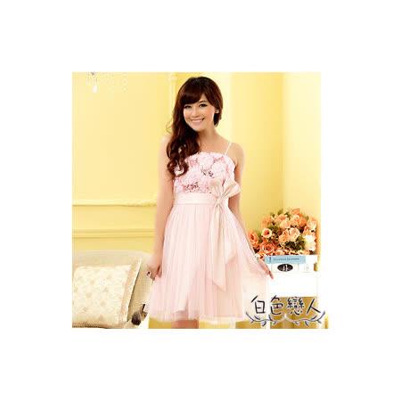 【白色戀人中大尺碼】粉色甜美繡花亮片蝴蝶結小禮服