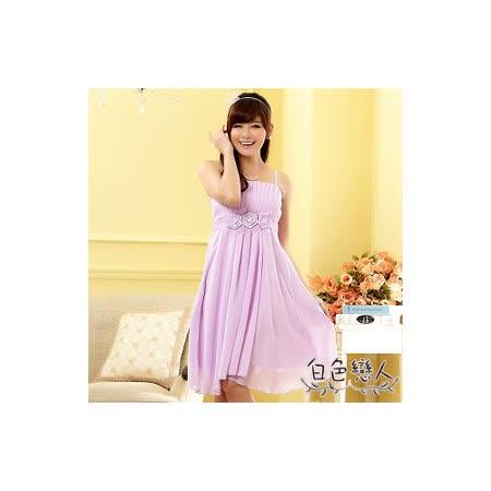 【白色戀人中大尺碼】紫色平口壓摺玫瑰腰花雪紡小禮服