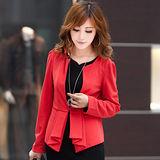 【公主衣櫃 中大尺碼】530修身顯瘦長袖小西裝外套(紅色)