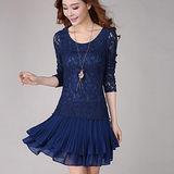 【麗質達人中大碼】2149蕾絲雪紡拼接洋裝(藍色)