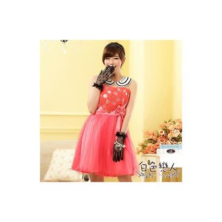 【白色戀人中大尺碼】桃紅色俏皮玫瑰公主裙平口小禮服