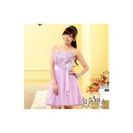 【白色戀人中大尺碼】紫色俏皮玫瑰公主裙平口小禮服