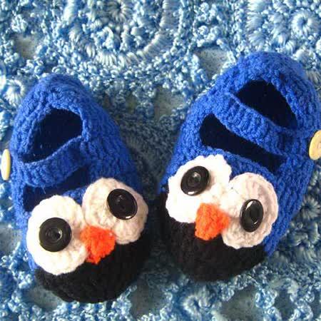 (任選)手工編織彩色貓頭鷹鞋襪 (藍)
