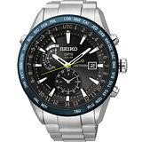 SEIKO ASTRON GPS 太陽能電波腕錶-黑x藍框 7X52-0AE0B