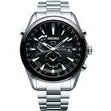 SEIKO ASTRON GPS 電波太陽能鈦金屬腕錶-黑/銀 7X52-0AA0D