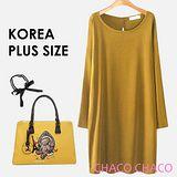 預購【CHACO PLUS韓國】韓製簡約優雅背後開孔蝴蝶結連身洋裝(2色L-XXL)