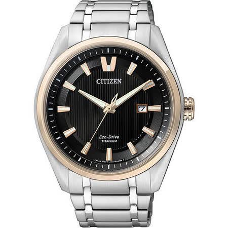 CITIZEN Eco-Drive 超級【鈦】時尚光動能腕錶-黑x玫塊金框/43mm AW1245-53E