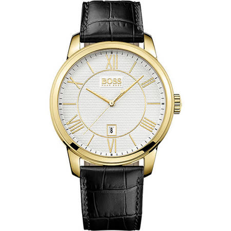 Hugo Boss 簡約羅馬時尚皮帶腕錶-銀x金時標/43mm H1512972