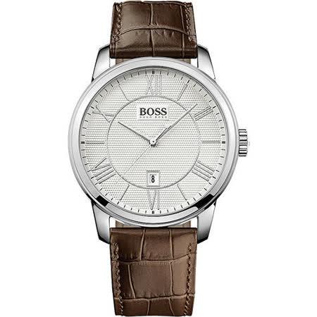 Hugo Boss 簡約羅馬時尚皮帶腕錶-銀x咖啡 H1512973