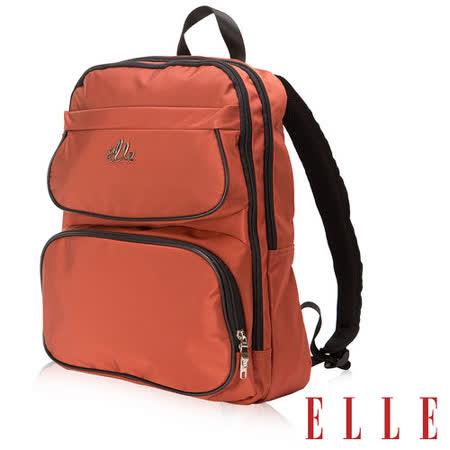 ELLE 優雅法式 Girl休閒系列 14吋筆電後背包款立體方圓弧流線搭配皮 -橘EL83795-11