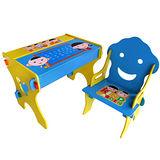 kikimmy 小博士畫板成長學習書桌椅組-微笑藍