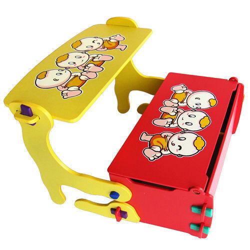 kikimmy 四合一多功能學習書桌椅-紅黃