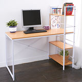 DIY簡單樂活-清新色彩雙向層架電腦桌-櫸木色