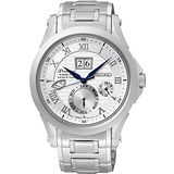 SEIKO Kinetic 專業萬年曆大視窗腕錶-銀 7D48-0AL0B
