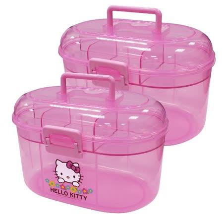 Hello Kitty小花手提小物收納盒KT0446-二入組