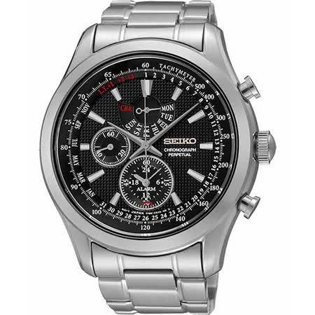 SEIKO 爭霸天下萬年曆鬧鈴計時腕錶-黑x銀 7T86-0AC0D