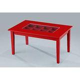 【空間生活】八宮格玻璃收納茶几桌(紅)